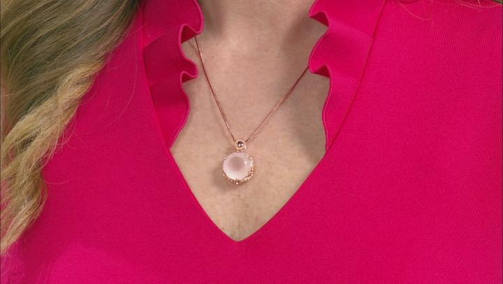 Rose Quartz Copper Pendant With Chain