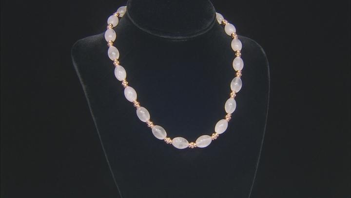 Rose Quartz Bead Copper Station Necklace