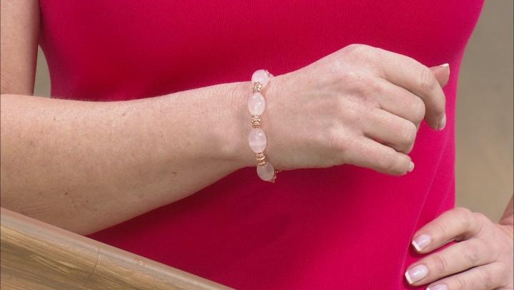 Rose Quartz Bead Copper Station Bracelet