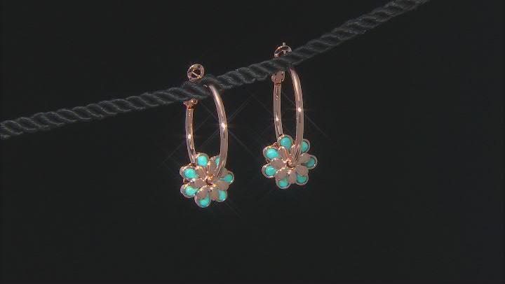 Turquoise Flower Charm Copper Hoop Earrings