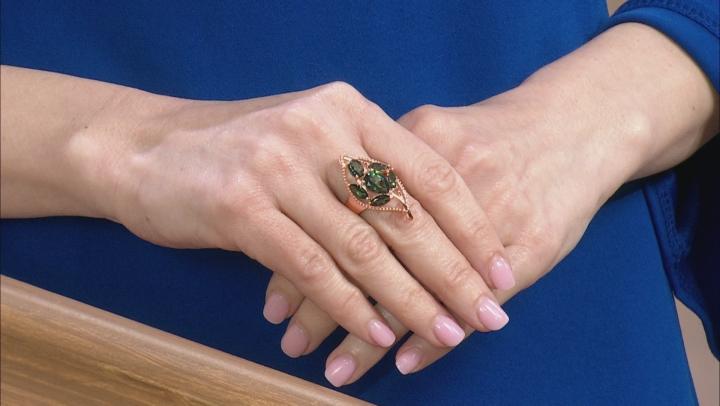 Princess™ Quartz Copper Leaf Design Ring 10.29ctw