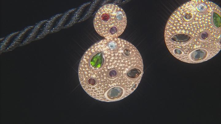 Mix Shape Multi- Gemstone Textured Copper Door Knocker Earrings 4.61ctw