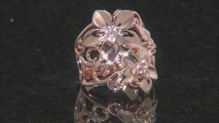 White Topaz Copper Flower Ring 0.20ctw