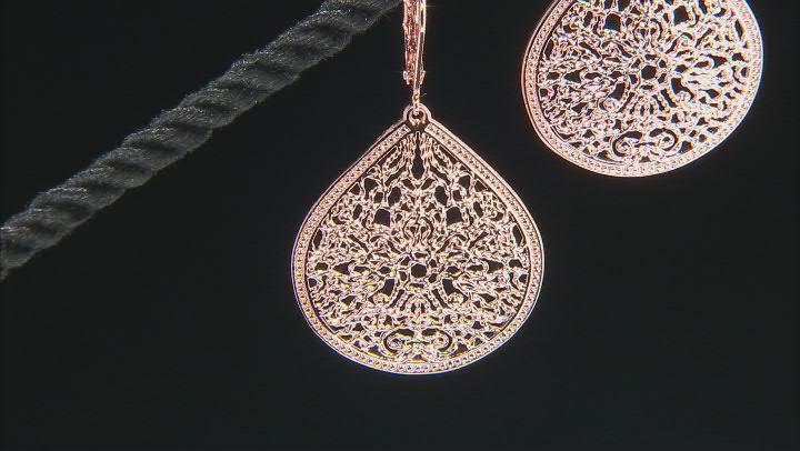Filigree Pear Shape Copper Earrings