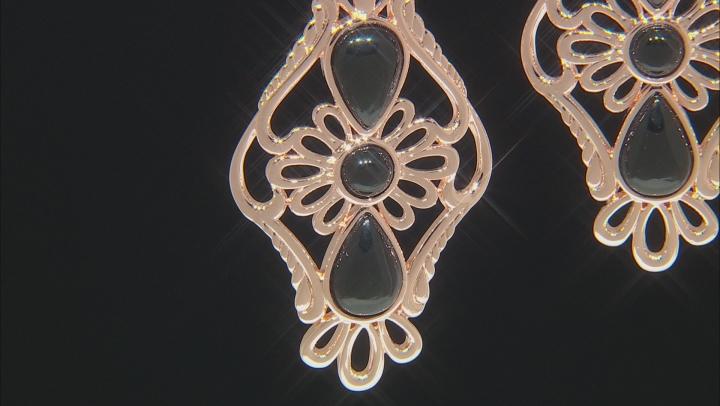 Black Onyx filigree style Copper earrings 10.75ct