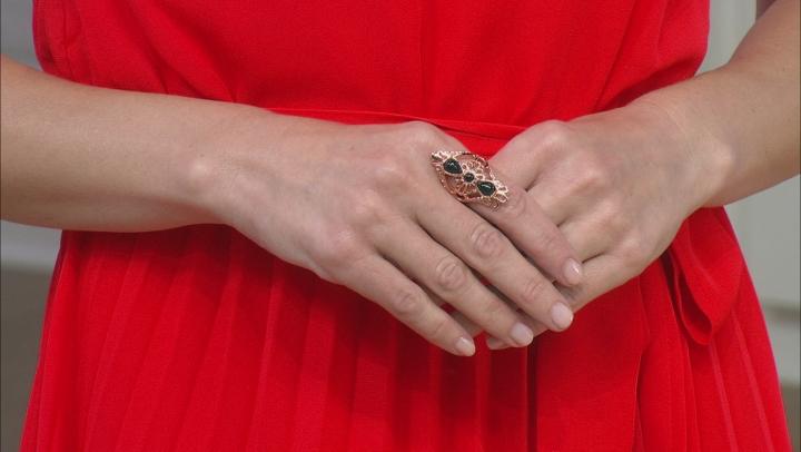 Black Onyx filigree style Copper ring 2.15ct