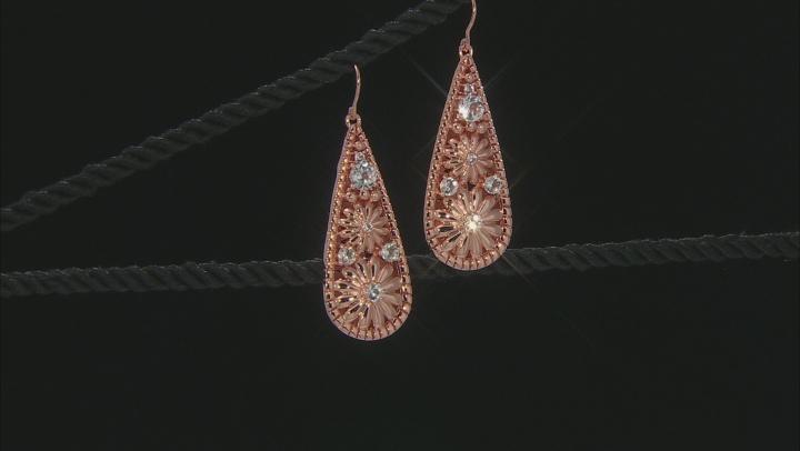 White Topaz Flower Design Copper Dangle Earrings 2.31ctw