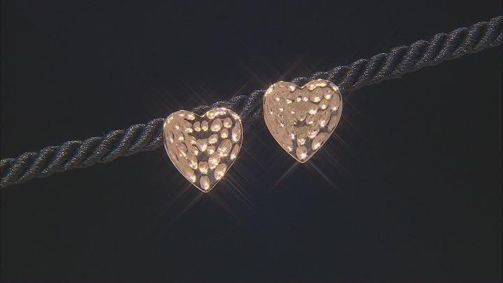 Copper Textured Heart Stud Earrings