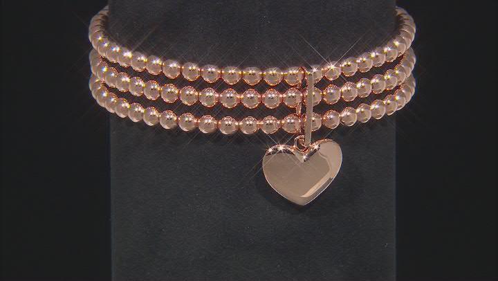 Copper Beaded Heart Charm Stretch Bracelet