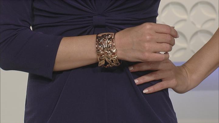 Copper Floral Cuff Bracelet