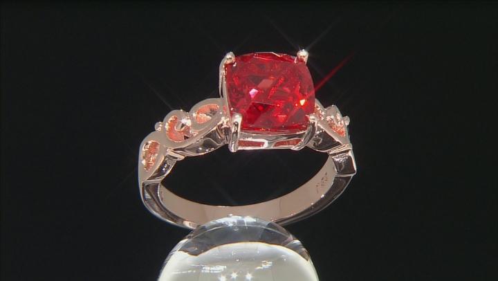 Orange Lab Created Padparadscha Sapphire Copper Ring 4.15ctw
