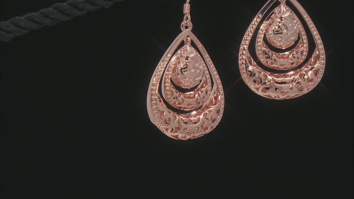 Copper Textured Teardrop Dangle Earrings