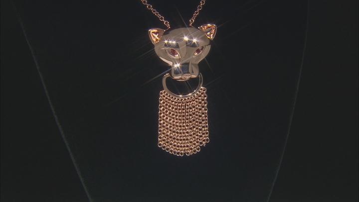Copper Red Garnet Jaguar Tassel Necklace .21ctw