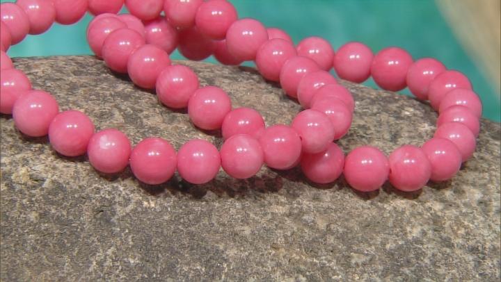 Pink Salmon Coral Bead 2 Stretch Bracelet Set.
