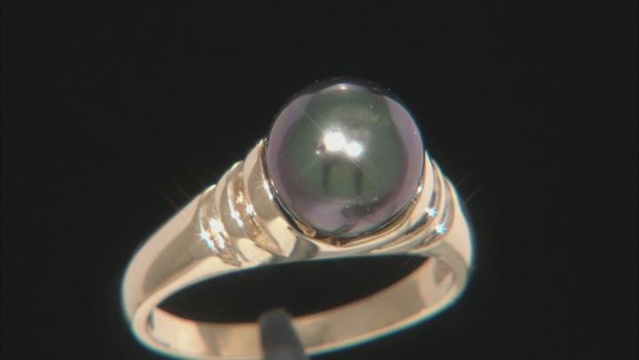 9mm Cultured Gambier Tahitian Pearl, 14k Yellow Gold Ring