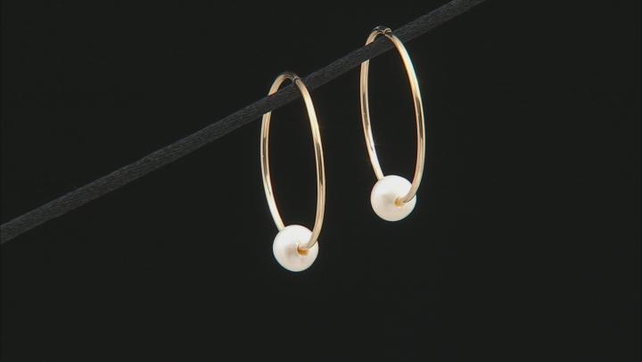 6-7mm White Cultured Freshwater Pearl 14k Yellow gold Hoop Earrings