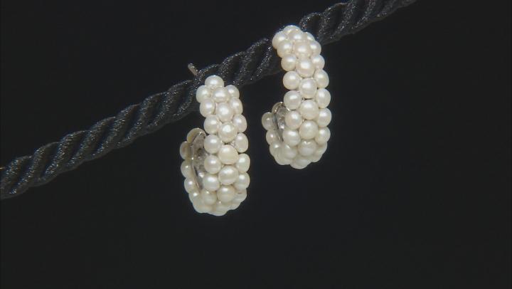2.5-3mm White Cultured Freshwater Pearl, Rhodium Over Sterling Silver Hoop Earrings