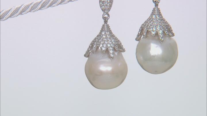 Genusis™ Cultured Freshwater Pearl & Cubic Zirconia Rhodium Over Silver Earrings