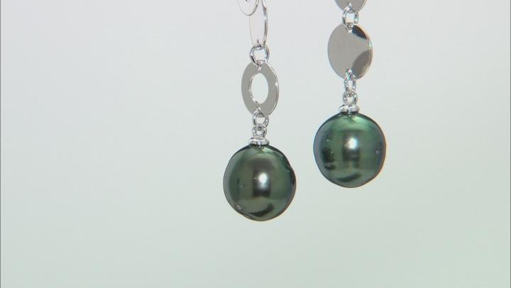Cultured Tahitian 9-10mm Semi-Baroque Pearl Rhodium Over Sterling Silver Dangle Earrings