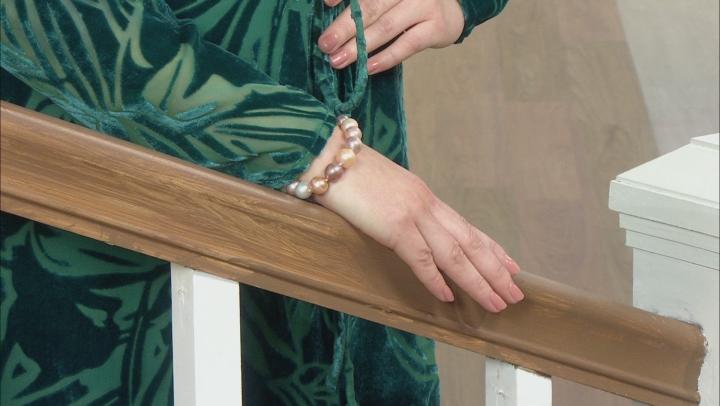 Genusis™ Mutli-color Cultured Freshwater Pearl Rhodium Over Sterling Silver 8 Inch Bracelet