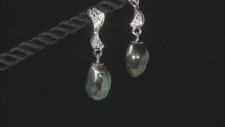 Cultured Keshi Tahitian Pearl 8-9mm Rhodium Over Sterling Silver Drop Earrings