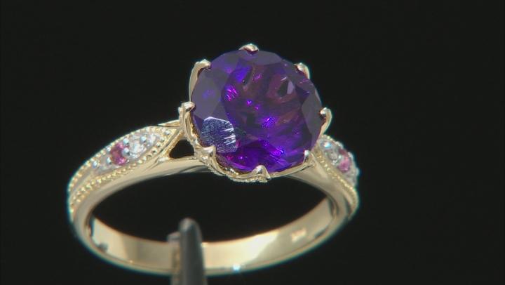 2.25ct Purple Amethyst, Pink Tourmaline, Diamond Accent 10k Yellow Gold Ring