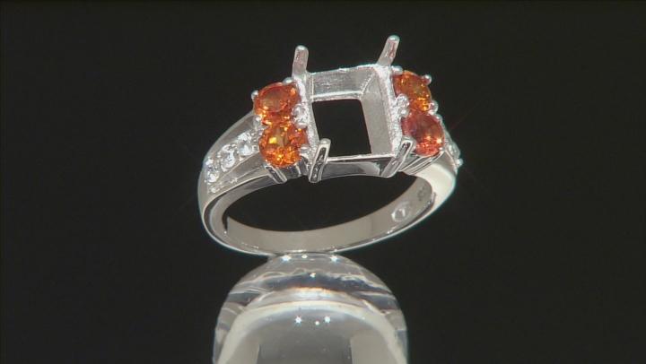 10x8mm Emerald Cut Ring Setting Created Orange Sapphire White Zircon Silver