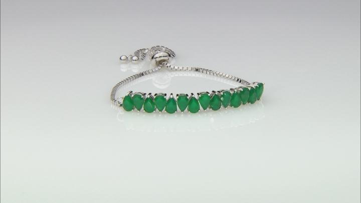 Green Onyx Rhodium Over Silver Bolo Bracelet