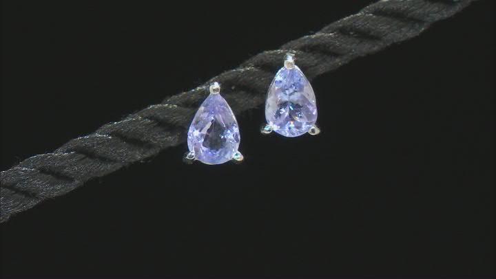 Blue Tanzanite Rhodium Over Sterling Silver Stud Earrings