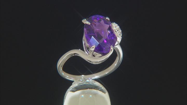 Purple Amethyst Sterling Silver Ring 4.97ctw