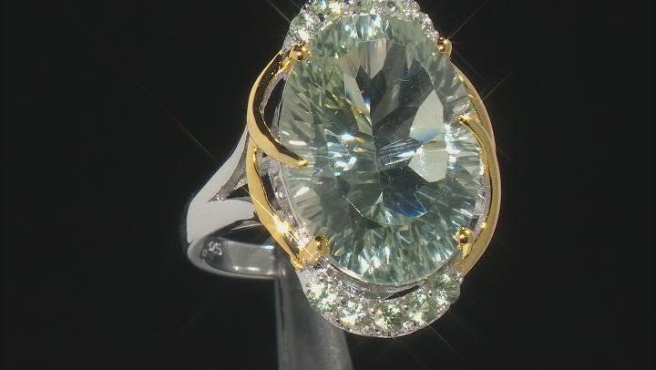 Green Prasiolite Rhodium & 18k Gold Over Silver Two-Tone Ring 10.99ctw