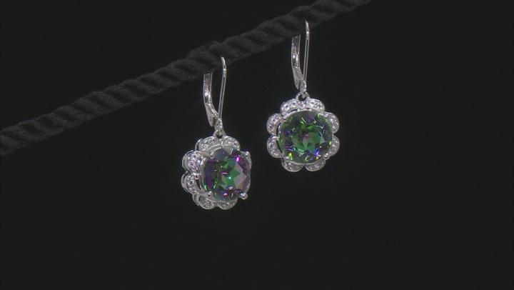 Multi-Color Quartz Rhodium Over Silver Earrings 7.18ctw