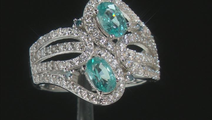 Blue Zircon Rhodium Over Sterling Silver Ring 2.38ctw