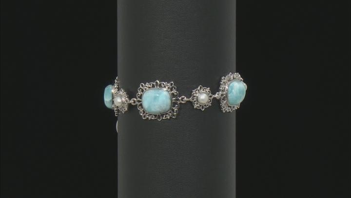 Blue Rectangular Cushion Larimar and Cultured  Freshwater Pearl Rhodium Over Silver Bracelet