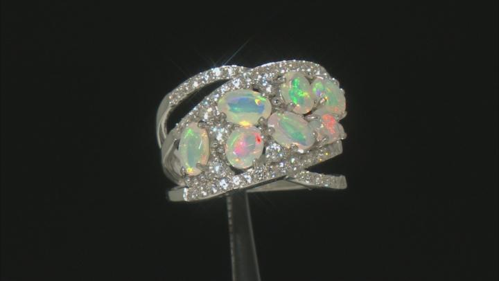 Multi-Color Ethiopian Opal Rhodium Over Silver Ring 1.98ctw
