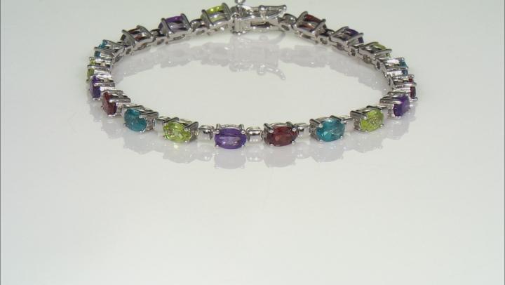 Multi-Color Gemstone Rhodium Over Sterling Silver Tennis Bracelet 8.56ctw