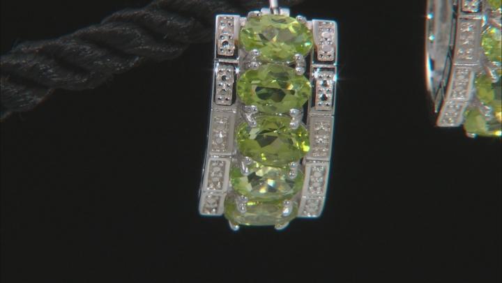 Green Peridot Rhodium Over Sterling Silver Hoop Earrings 3.83ctw