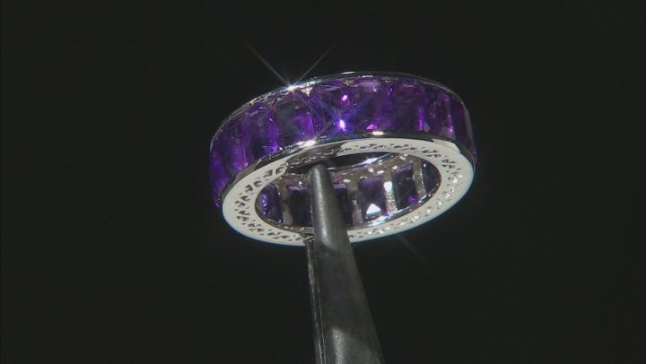 Purple Amethyst Rhodium Over Silver Eternity Band Ring 7.25ctw