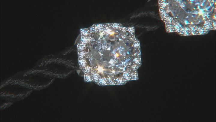 White Cubic Zirconia  Sterling Silver Earrings 7.42ctw