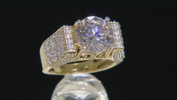 Cubic Zirconai 18k Yellow Gold Over Silver Ring 8.76ctw (4.80ctw DEW)