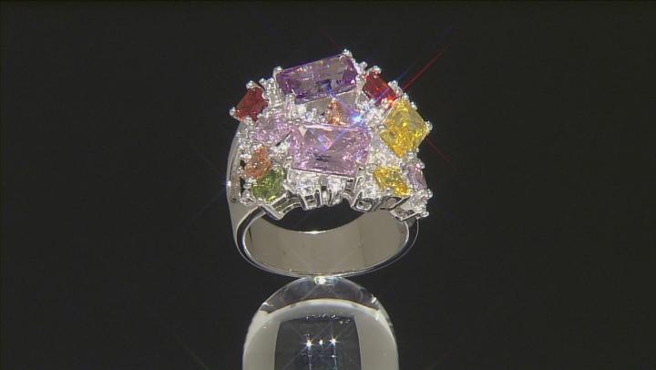 Multicolor Cubic Zirconia Silver Ring 15.50ctw