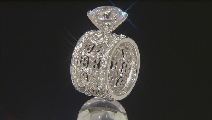 Cubic Zirconia Silver Ring 12.36ctw (9.06ctw DEW)