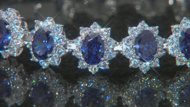 Blue & White Cubic Zirconia Rhodium Over Sterling Silver Tennis Bracelet 37.43ctw