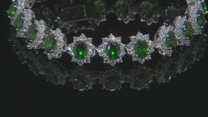 Green & White Cubic Zirconia Rhodium Over Sterling Silver Tennis Bracelet 37.43ctw
