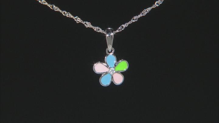 Multi-Color Enamel Rhodium Over Silver Children's Flower Pendant With Chain .02ct