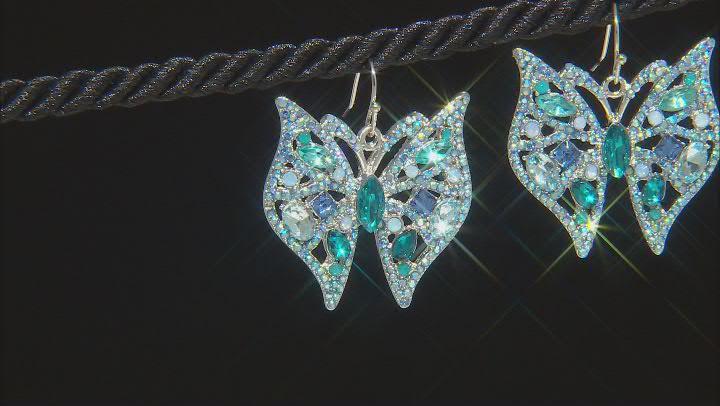 Blue Crystal, Silver Tone Butterfly Earrings