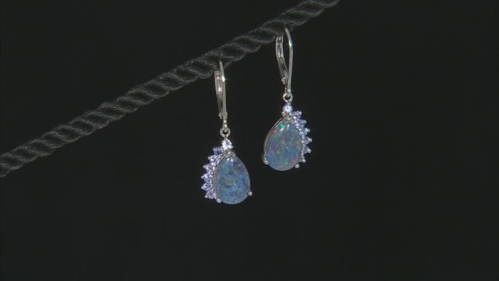 Multi-color Australian Opal Triplet Rhodium Over Sterling Silver Earrings .51ctw