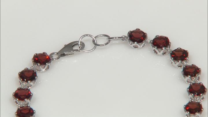 Red Garnet Round Rhodium Over Sterling Silver Tennis Bracelet 16.20ctw