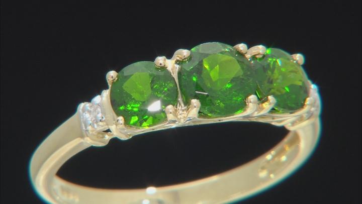 2.02ctw Round Chrome Diopside White Diamond 10kt Yellow Gold 3-Stone Ring