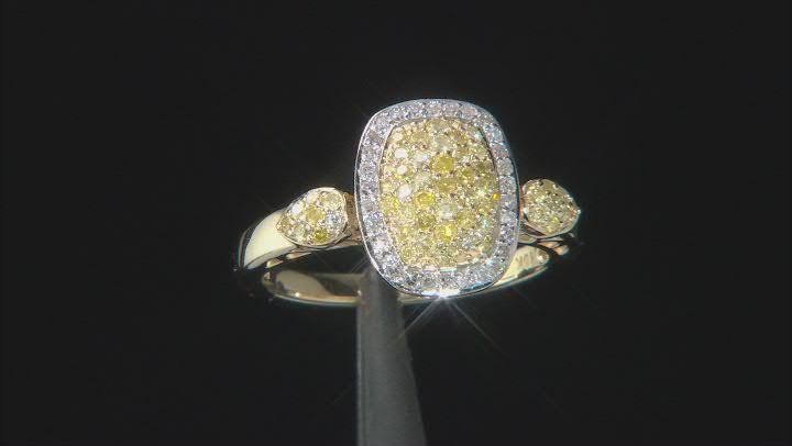 Yellow And White Diamond Ring 10k Yellow Gold .53ctw